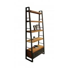Etagère bibliothèque inclinée style industriel 5 plateaux 1 tiroir - bois massif acacia et métal - WORKSHOP