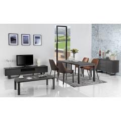 Meuble TV gris anthracite plateau céramique - EMOTION
