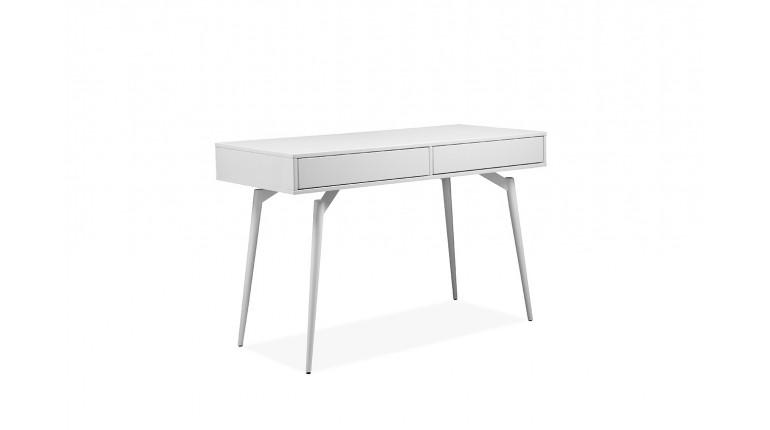 Bureau blanc laqué 2 tiroirs en bois - NORWAY