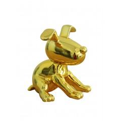 Petit chien assis laqué jaune - DOGGY