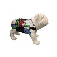 Sculpture chien bulldog anglais motif carreaux et drapeau anglais - England