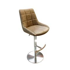 Chaise haute de bar marron vintage avec dossier et repose-pied - BARMAN