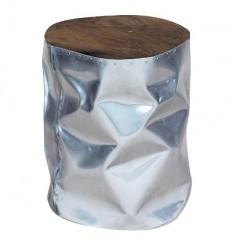 Tabouret/bout de canapé rond argenté design en bois de teck et aluminium - style contemporain - RANDA