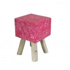 Tabouret rose carré en nacre rose et pieds teck - NACRY