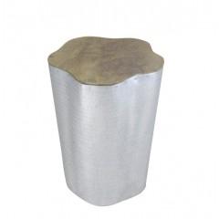 Tabouret tronc / bout de canapé argenté en bois de teck et tôle d'aluminium - style cosy scandinave bohème - TORBEL