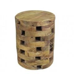 Bout de canapé rond en bois de teck - PUZZLE