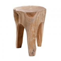 Tabouret tronc  / bout de canapé rond en bois de teck naturel  - style cosy bohème chalet chic - OISANS