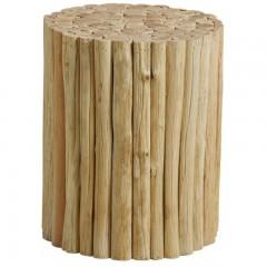 Tabouret / bout de canapé rond en branches de bois de teck naturel  - style cosy bohème chalet chic - STICK