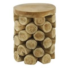 Tabouret / bout de canapé ROND en bois de teck naturel - ANANAS