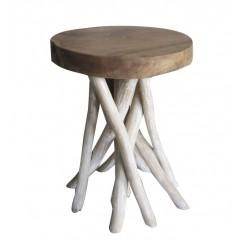 Tabouret en bois de teck naturel et blanc - design cosy bohème chalet chic - DESANA