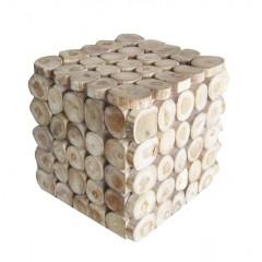 Bout de canapé cube en bois de teck - RUBIK