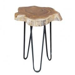 Tabouret / bout de canapé en bois de teck et pied métal - FIL