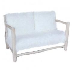 canapé / sofa / banquette 2 places en fausse fourrure et bois de teck - style cosy scandinave naturel - INUIT