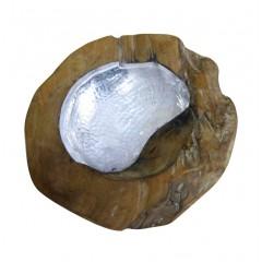 Bol décoratif en racine de teck et design aluminium - POK