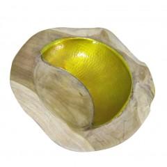 Bol décoratif en bois de teck et aluminium - KOPO