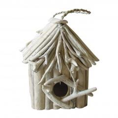 Nichoir maison à oiseaux en teck  - objet décoratif à poser à suspendre - design bohème chic & nature  - CANARIA