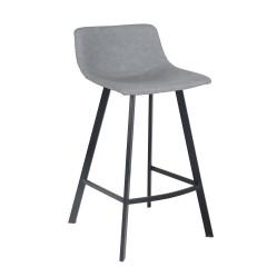 Chaise de bar simili gris & métal - coloris gris - LINE