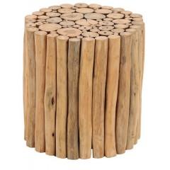 Tabouret en bois de teck - meuble style exotique, cosy naturel, chalet chic - VENOSC
