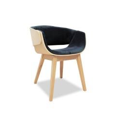 Fauteuil design gris anthracite bois & velours - SIT