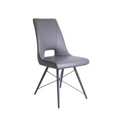 Chaise moderne simili taupe & pieds métal - TOYA