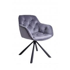 Chaise / fauteuil velours gris pivotant - CHARLIE