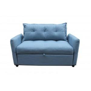 Canapé 2 places convertible en tissu bleu - MONTREAL