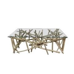Table basse rectangulaire en branches de teck et plateau verre trempé - BRESKY