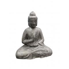 Buddha assis gris en terre cuite H52cm posture de méditation - BOUDI