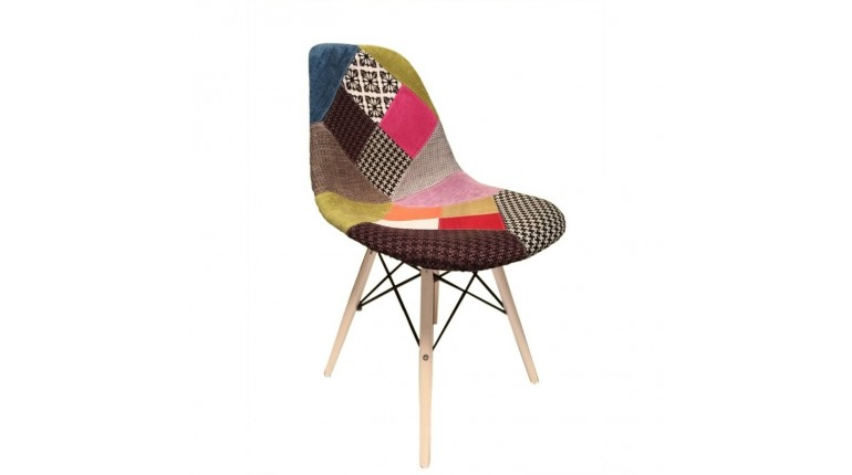 Chaise scandinave patchwork en tissu & bois de hêtre - RETRO