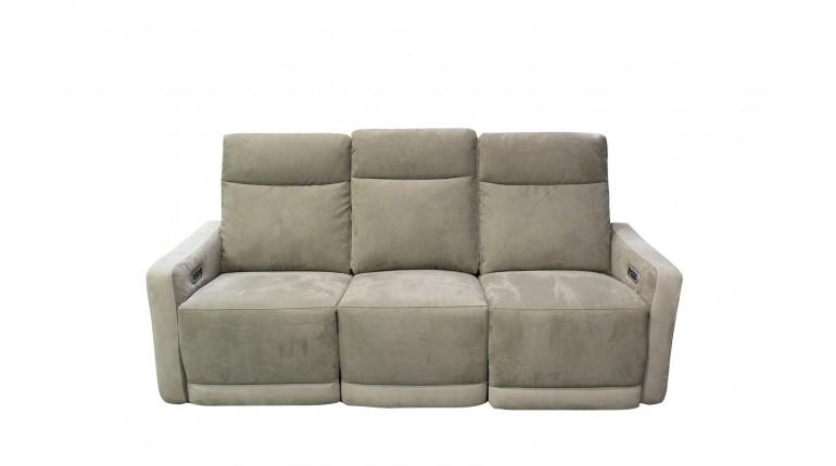 Canapé relax électrique 3 places effet suédine Beige - CLOUD
