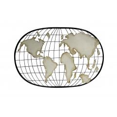 Déco murale carte du monde mappemonde en métal noir et beige - MAP