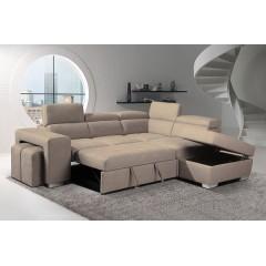 Canapé d'angle convertible droit et coffre de rangement  - DALLAS