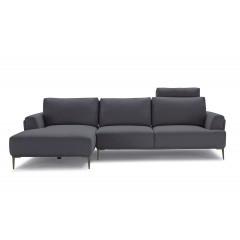 Canapé d'angle gauche gris anthracite  -  dossiers mobiles -LUGANO