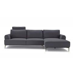 Canapé d'angle droit avec dossiers mobiles Gris - LUGANO