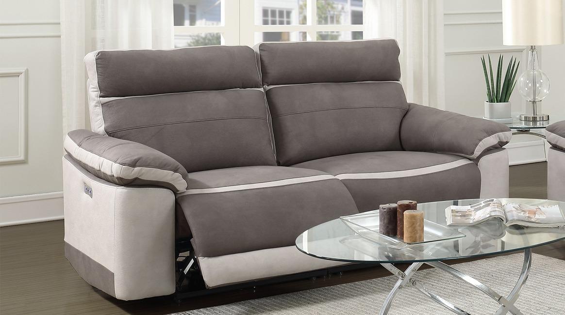 Canapé relax électrique 2.5 places en tissu Taupe Bicolore - LAURIE