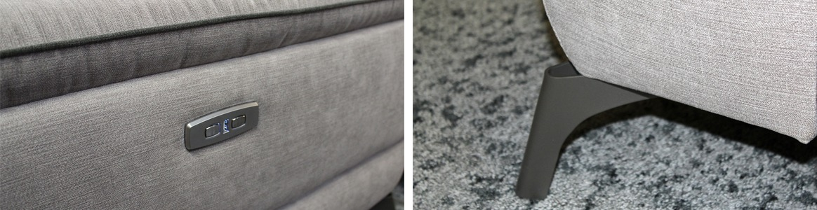 Canapé relax 2,5 places électrique en tissu Gris - PROFILE