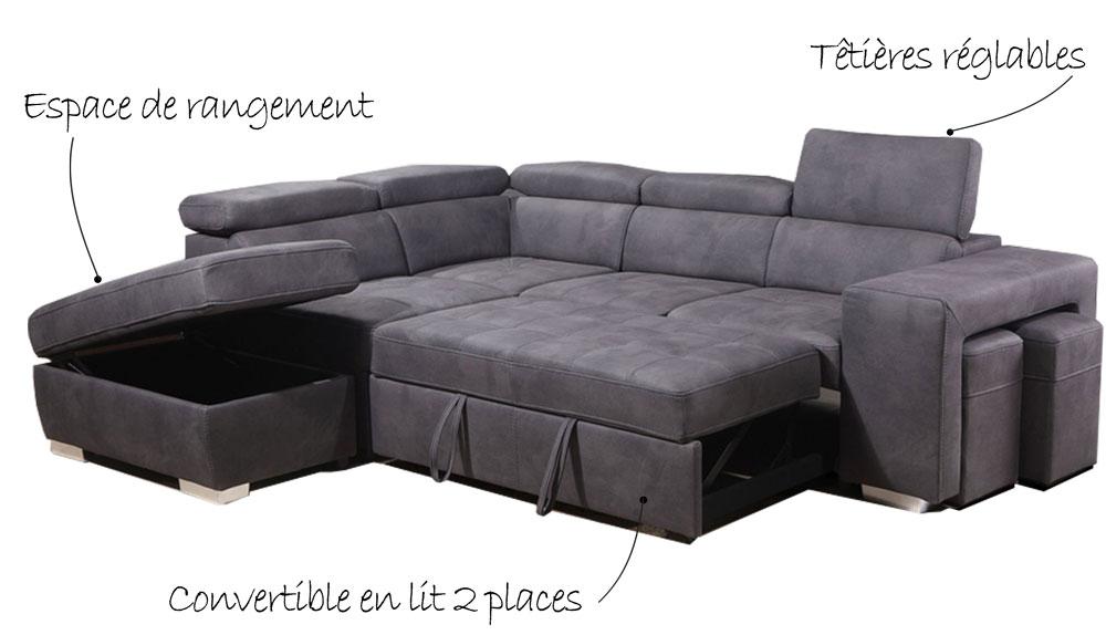 Canapé angle gauche convertible - DALLAS