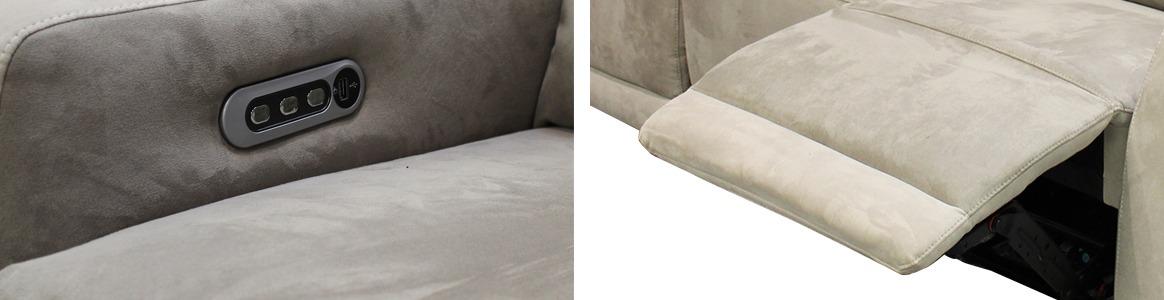 Canapé relax électrique 2 places effet suédine Beige - CLOUD zoom
