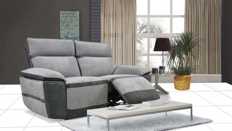 Canapé XL relax électrique 2 places Gris - RIMINNI